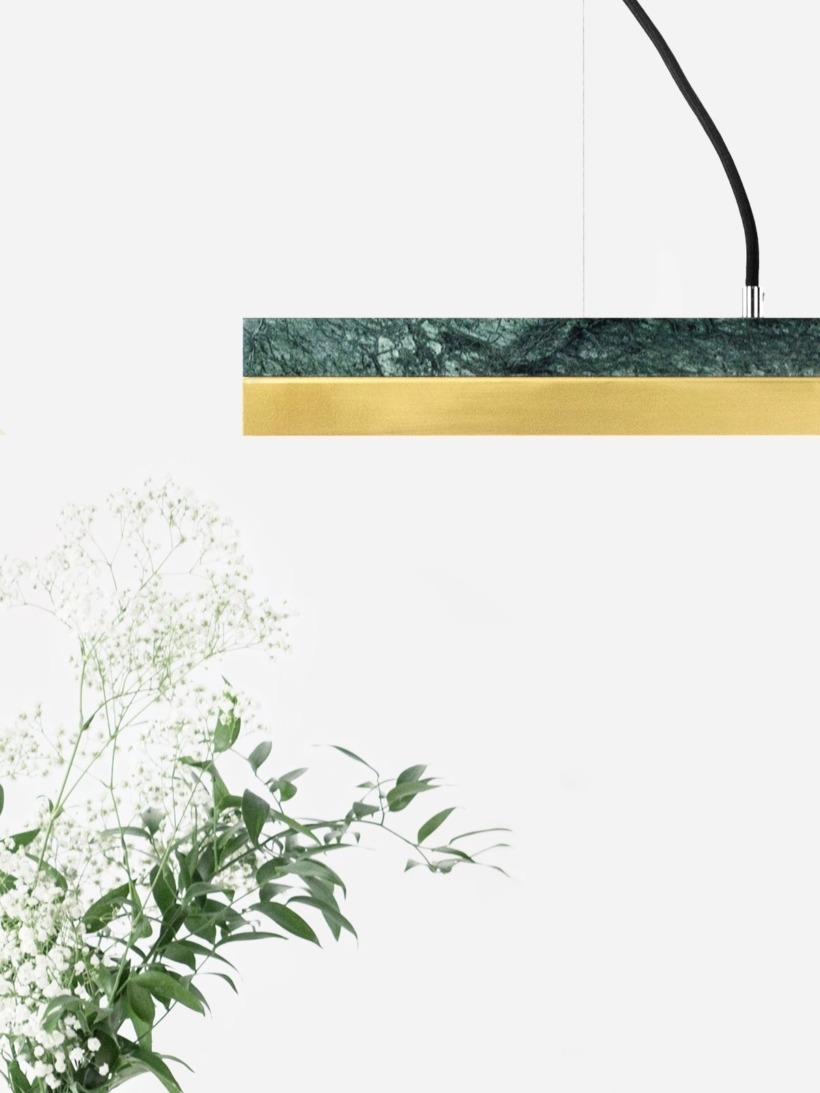 [C2m]brass Pendant light marble and brass small