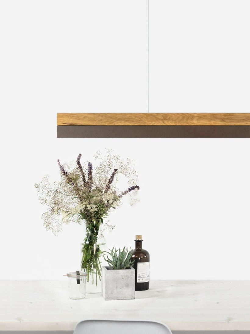 [C3o]corten Pendant light oak wood large