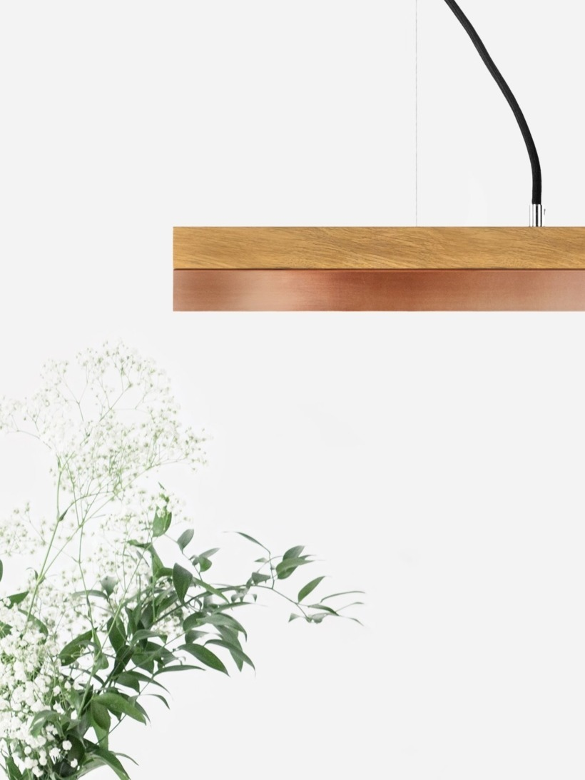 [C3o]copper Pendant light oak wood large